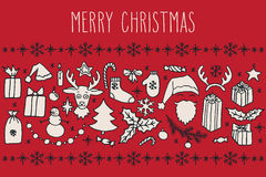Christmas doodle greeting card Royalty Free Stock Image