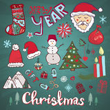 Christmas doodle hand-drawn collection. New year funny vector set. Stock Photos