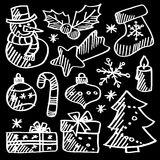 Christmas doodle icons,chalk sketches royalty free stock image