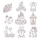 Christmas doodle icons vector set. Christmas doodle icons line black and white vector set candles bell cone socks lamp and deer Royalty Free Stock Photos