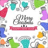 Christmas doodle postcard Stock Photos