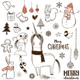 Christmas doodle set. With animals and elements Royalty Free Stock Photography