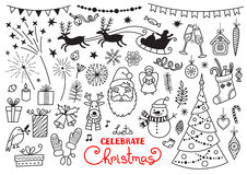 Christmas doodle set of characters and decorations Royalty Free Stock Photography