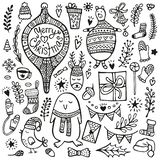 Christmas doodle collection. Hand drawing cute characters and design elements. Christmas doodle set. Cute hand drawn elements, bear, deer, hats, scarfs, bird vector illustration
