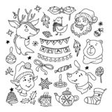 Christmas doodle set with santa, deer, dog and elf. Set of Christmas doodles Santa, reindeer, elf, dog and bear characters, objects, decorations, vector vector illustration
