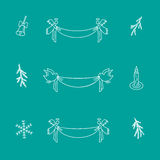 Christmas doodle set of vector elements. One color Royalty Free Stock Photography