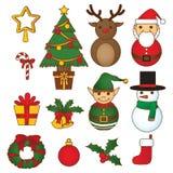 Christmas doodle set vibrant color stock illustration
