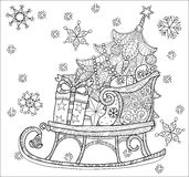Christmas doodle sketch sledge. Hand drawn Christmas doodle sketch sledge on squared paper. Sleighs, gift boxes,  Christmas tree. Vector illustration isolated Stock Images