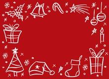 Christmas doodle sketchy frame vector illustration