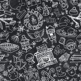 Christmas doodle symbols seamless pattern.Chalk Stock Photo