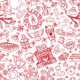 Christmas doodle symbols seamless pattern.Linear Royalty Free Stock Photography