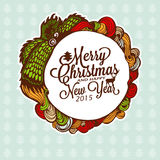 Christmas doodle wreath with gifts. Vector Illustration. Stock Images