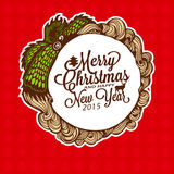 Christmas doodle wreath with gifts. Vector Illustration. Royalty Free Stock Photo