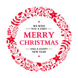 Christmas doodle wreath with greeting. Vector holiday card. Xmas Stock Photo