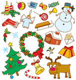 Christmas doodles. All objects are grouped, no gradients, easy to recolour, CMYK Royalty Free Stock Images
