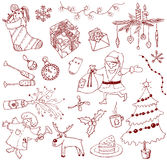 Christmas doodles. Hand-drawn doodles on the Christmas theame vector illustration