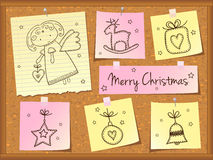 Christmas doodles with angel Royalty Free Stock Images