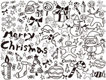Christmas doodles background Stock Photos