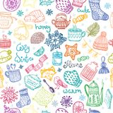 Set of Christmas doodles, pattern. Christmas doodles collection, seamless pattern Royalty Free Stock Photo