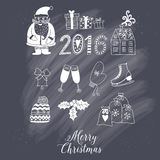 Christmas doodles elements: Santa, houses, cake, lettering sign 2016.  Stock Images