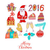Christmas doodles elements: Santa, houses, cake, lettering sign 2016.  Royalty Free Stock Photo