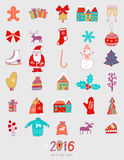 Christmas doodles elements: Santa, houses, cake, lettering sign 2016. Design set for winter holidays decoration. Vector doodle ele. Christmas doodles elements in Stock Images