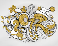 Christmas doodles illustration with grey and gold glitter colors Stock Image