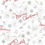 Christmas doodles pattern. Doodles seamles pattern with Christmas greetings Royalty Free Illustration