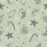 Christmas doodles pattern Royalty Free Stock Images