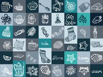 Christmas doodles round composition. Holiday background Stock Photography