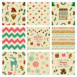 Christmas Doodles Seamless Background Set Stock Photo
