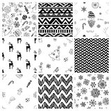 Christmas Doodles Seamless Background Set Stock Images