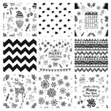 Christmas Doodles Seamless Background Set Stock Photos