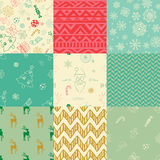 Christmas Doodles Seamless Background Set Royalty Free Stock Photo