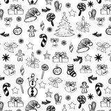 Christmas doodles seamless black on white 2 Royalty Free Stock Photo