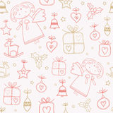 Christmas doodles seamless pattern Royalty Free Stock Photo