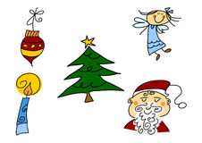 Christmas doodles set Stock Image