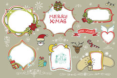 Christmas Doodles set.Badges,labels with holiday Stock Photo