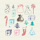 Christmas doodles set Stock Photography