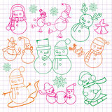 Christmas doodles with snowmen-illustration Royalty Free Stock Photo