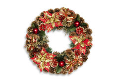 Christmas door decoration isolated on the white background. Royalty Free Stock Photo