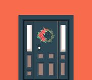 Christmas Door Decoration. Vector illustration of the decoration of the entrance door of the Christmas wreath of the nest Royalty Free Stock Photo