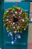 Prague, Czech Republic. Christmas door wreath. Christmas door wreath decorated with ceramic details made by Czech masters in Old Prague stock photo