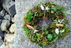 Christmas door wreath  green decorated with natural materials and spices Royalty Free Stock Photo