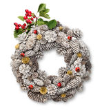 Christmas door wreath with hawthorn. White Christmas door wreath decoration with cones, hawthorn branch and berries stock images