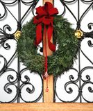 Christmas door wreath. With red ribbon stock images