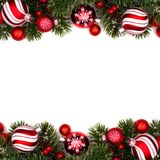 Red and white Christmas bauble double border on white Stock Photo