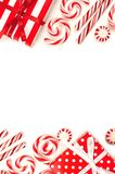 Christmas double border of red and white gifts and candies Royalty Free Stock Image