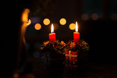 Christmas by Double Candle Light Stock Photos