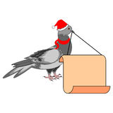 A Christmas dove with a big blank paper in his bea Stock Photos